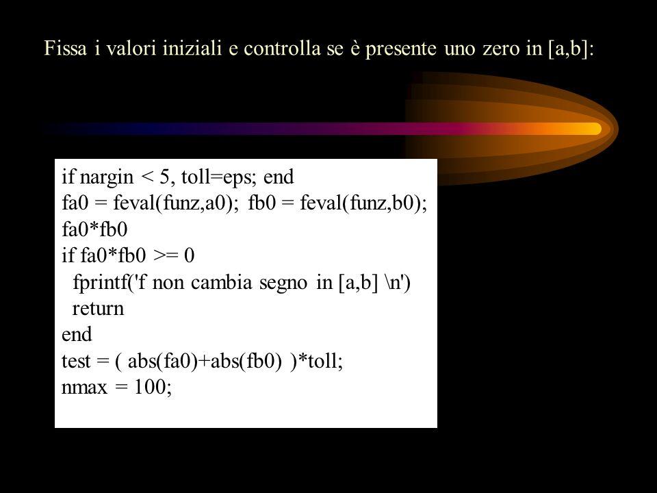 Fissa i valori iniziali e controlla se è presente uno zero in [a,b]: